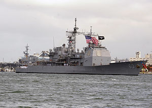 USS Cowpens (CG-63) - Cowpens arrives in San Diego, April 2013. Note the longhorns under the bridge windows and the white on black longhorn flag.