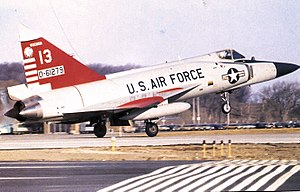 115th Operations Group - 176th Fighter Interceptor Squadron Convair F-102A-75-CO Delta Dagger 56-1279 taking off from Truax Field, Wisconsin, 1970