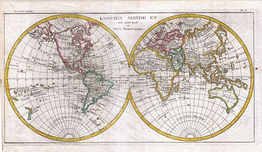 1780 Raynal and Bonne Map of the Two Hemispheres - Geographicus - Hemispheres-bonne-1780