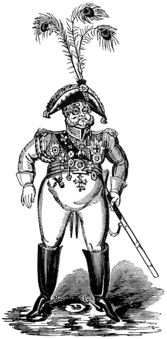 """William Hone - An unflattering 1819 caricature of the Prince Regent by George Cruikshank, illustrating """"The Political House that Jack Built""""."""