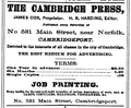1878 Cambridge Press advert Cambridge Massachusetts.png