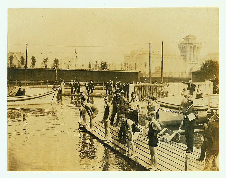 File:1904 Olympics- First heat of the fifty yard swimming Olympic Championship.jpg