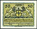 1919-06-18 Stadt Alfeld (Leine) Gutschein über 0,50 Mark fünzig Pfennig Käte Reiche Unterschrift Magistrat Bürgervorsteher Alfelder Zeitungen Löwen Schild Wappen.jpg