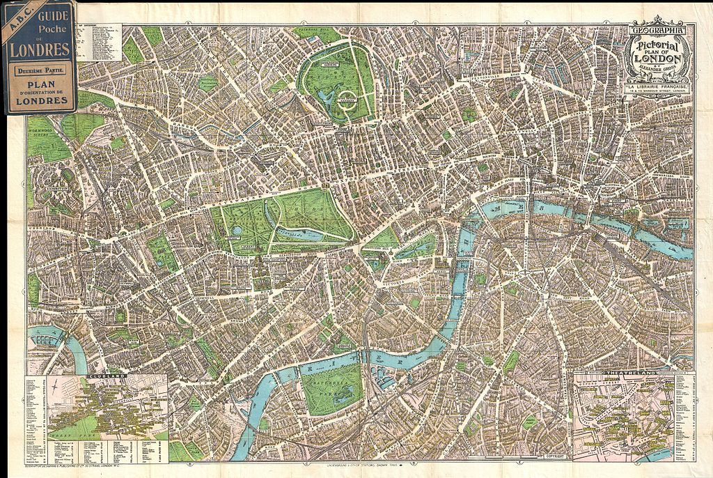 File1924 Geographia Pictorial Map of London England – Downtown London Map