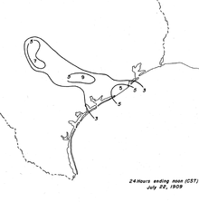 Black and white contoured map of rainfall totals, ranging from 3 in (76 mm) to 9 in (230 mm).