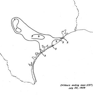 1909 Velasco hurricane - Image: 1932 Velasco hurricane rainfall totals