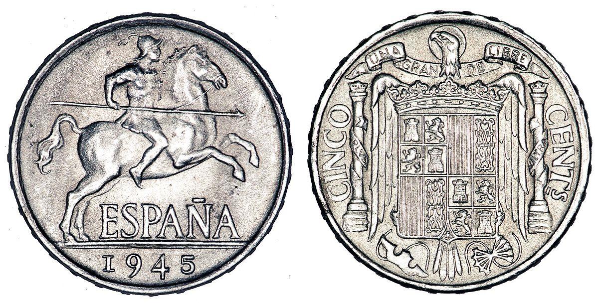 5 céntimos de peseta, o perra chica. Emisión de 1945.