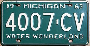 1963 in Michigan - Image: 1963 Michigan license plate