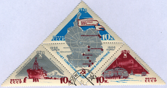 Soviet Antarctic Expedition - 10 Years of Soviet Research in Antarctica, 1966 USSR stamp block