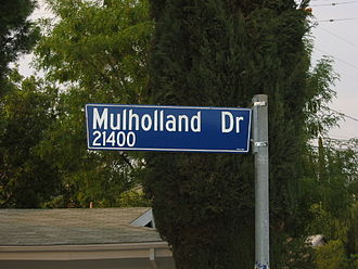 Mulholland Drive - A Mulholland Drive street sign in a residential neighborhood in Woodland Hills.