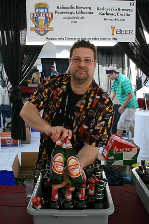 Karlovačko - Fred Gilbert, an Ararat Import Export Co. sales representative, shows off bottles of Karlovačko lager from Croatia at the 13th Annual World Beer Festival held at the Durham Bulls Athletic Park in Durham, North Carolina
