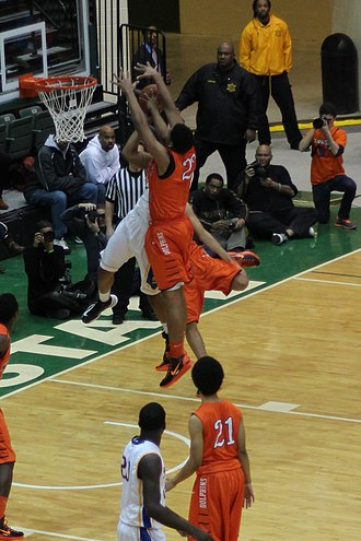 Double team - Image: 20130126 White Okafor doubleteam leads to Okafor block of Parker at Simeon Whitney Young game (3)