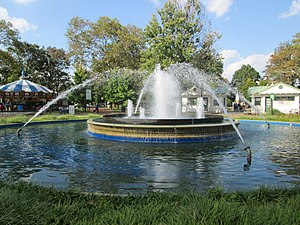 Franklin Square (Philadelphia) - The Fountain is at the center of the park; the carousel can be seen on the left  (2013)