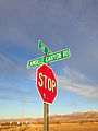 2014-11-11 16 08 22 Stop sign and street signs at the intersection of Lamoille Canyon Road and Nevada State Route 227 (Lamoille Highway) near Lamoille, Nevada.JPG