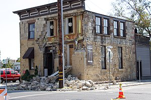 Napa, California - Damage to the Sam Kee Laundry Building from the 2014 South Napa earthquake