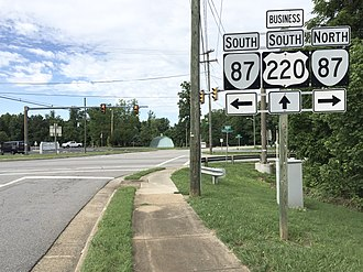 Special routes of U.S. Route 220 - View south along US 220 Bus at SR 87 in Ridgeway