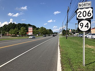 Hampton Township, New Jersey - US 206 and Route 94 northbound in Hampton Township