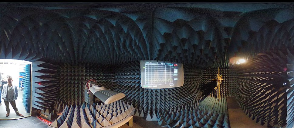 360 image of an electromagnetic anechoic chamber