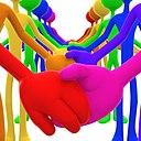 3D Full Spectrum Unity Holding Hands Concept