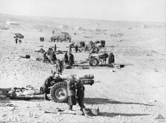 BL 6-inch 26 cwt howitzer - British battery in action at Tobruk, 23 January 1941