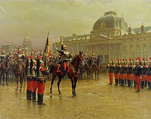 6th Cuirassier Regiment (France) - Colonel de la Rochetulon presenting to the recruits the flag of the 6th regiment of cuirassiers in front of the Ecole Militaire of Paris in 1887