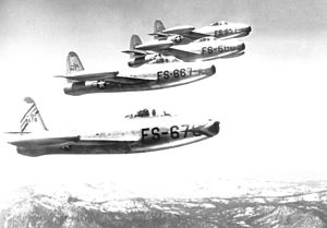 Continental Air Command - 78th Fighter Group, Jet Republic F-84B Thunderjets at Hamilton AFB, 1949.  Aircraft are (bottom to top) Republic F-84D-10-RE Thunderjet 48-678, 667, 680, 657