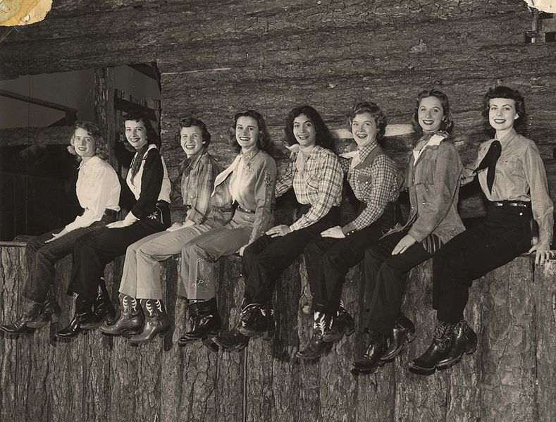 "File:8 female students of the University of Houston, wearing historical western garb for ""Frontier Fiesta"" (1950s).jpg"