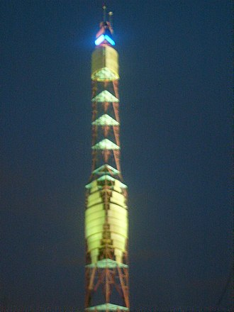 KXTV - The ABC10 Weather Tower at night time.
