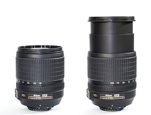 AF-S DX Nikkor 18-105mm f/3.5-5.6G ED VR - Compact and fully extended