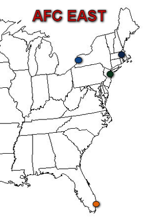 AFC East - Locale of the current 4 AFC East teams