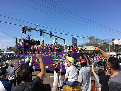 Mardi Gras float in the AMGA Krewes Parade in Alexandria. AMGA Krewes Parade.jpg