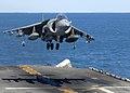 AV-8B Harrier lands on an aircraft carrier during Talisman Sabre - 2009 (090716-N-9950J-146).jpg