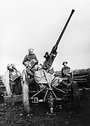 A 40mm Bofors anti-aircraft gun and crew near Douai, France, November 1939. O327