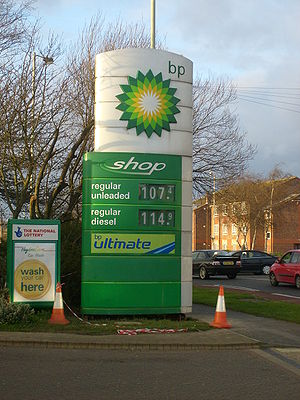 A BP sign outside a BP Garage in Portsmouth, E...