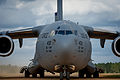 A U.S. Air Force C-17 Globemaster III aircraft assigned to Joint Base McGuire-Dix-Lakehurst, N.J., taxis at the Geronimo landing zone during Joint Readiness Training Center (JRTC) 14-05 training at Fort Polk 140314-F-XL333-105.jpg