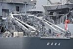 A frame crane of JS Nichinan(AGS-5105) left rear view at JMSDF Yokosuka Naval Base April 30, 2018.jpg