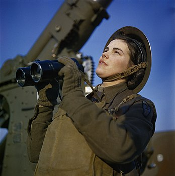 A member of the ATS (Auxiliary Territorial Service) serving with a 3.7-inch anti-aircraft gun battery, December 1942