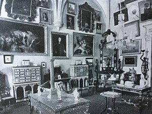 João Maria Correia Ayres de Campos, 1st Count of Ameal - A room of the palace whilst the residence of the Counts of Ameal, from the bilingual catalogue Collections Comte de Ameal, published in Coimbra in 1921.