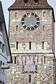 """Aarau- Oberer Turm mit Uhr von 1531-32, Sonnenuhr und Wandbild """"Totentanz"""".jpg"""