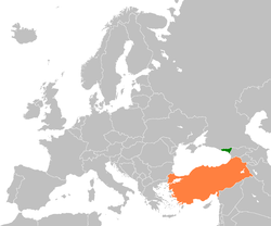Map indicating locations of Abkhazia and Turkey
