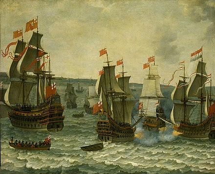 This painting, Action between ships in the First Dutch War, 1652–1654 by Abraham Willaerts, may depict the Battle of the Kentish Knock. It is a pastiche of popular subjects of naval painting of the time: on the right Brederode duels Resolution; on the left the enormous Sovereign. Abraham Willaerts, First Dutch War.jpeg