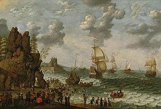 Abraham Willaerts - Image: Abraham Willaerts Ships near a rocky shore