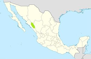 Acaxee Rebellion - A map of Mexico showing the location of the Acaxee in Sinaloa and Durango states.