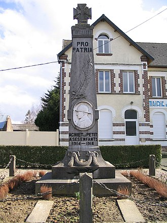 Achiet-le-Petit - The monument to the dead, in front of the town hall