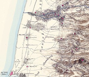Sheikh Danun - Survey of Western Palestine map from 1880, showing the area, including Kh. Buda