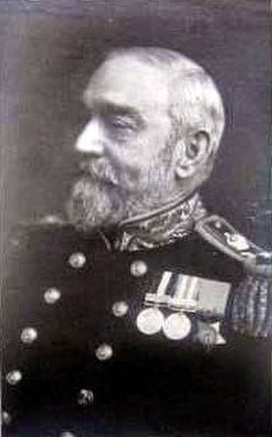 Sydney Eardley-Wilmot - Rear Admiral Sir Sydney Eardley-Wilmot wearing his medals: Canadian General Service Medal (left), Egypt Medal with Suakin clasp (centre), and the Khedive's Bronze Star (right).