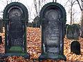 Adolph Meyer 1807-1866 Fanny Meyer geb. Königswarter 1804-1861 nebeneinanderliegende Grabsteine auf der Hügelkuppe Alter Jüdischer Friedhof an der Oberstraße Hannover Nordstadt, a2 Inschrift hebräisches Alphabet.JPG