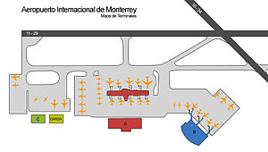 Monterrey International Airport - Diagram of the Monterrey Airport terminals