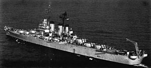 Aft view of USS Roanoke (CL-145) underway, circa in 1949.jpg