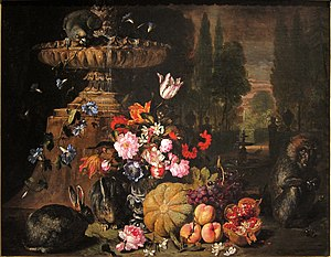 David de Coninck - Still life of fruit and flowers with animals